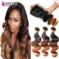 Ombre Body Wave Human Hair Bundles With Closure Blonde Brazilian Human Hair Weave 3 Bundles With Closure Remy Peruvian Hair