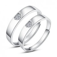 Moon Wings Sterling Silver 3-stone Heart Adjustable Rings Couple Rings Set