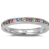 Colored Swarovski stones Silver Eternity Ring w/ MultiColor CZ 3MM - Sizes ,5,6,7,8,9,10,11,12
