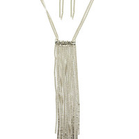 Own the Night - Long  Crystal and Fringe Necklace Set