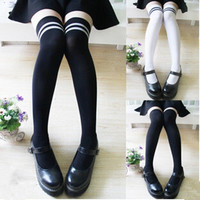 Women Lady Velvet Comfy Stockings Thigh High Over Knee Socks Black White = 1704134660