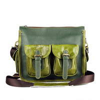 TWO TONE - Moss Green and Army Green Leather Bag-Dark Blue and Emerald Green Leather Bag-Choose Your color.