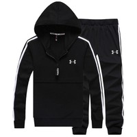 """Under Armour"" PRINT HOODIE TOP AND TWO PIECE SUIT BLACK"