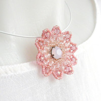 Beaded pendant, flower pendant, beadwork pendant, flower shape, pink and rose colored