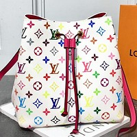 Inseva LV Louis Vuitton Fashion New Multicolor Monogram Print Shopping Leisure Shoulder Bag Crossbody Bag Bucket Bag White