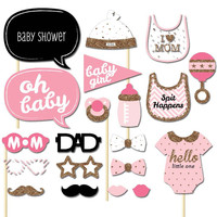 Lovely Baby Shower Photo Booth Props 20pcs Cute Feeding Bottle Glasses Birthday Party Favors Free Shipping