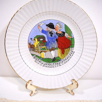 Vintage French Nursery Rhyme/ Song Plate Made in France bon voyage cher Dumollet A S Ma -lo debarquez sans nau-frage