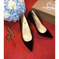 Cl Christian Louboutin 100mm Patent Leather High Heels Black W02