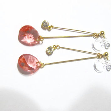 Swarovski Rose Peach Rhinestone Clip on earring|5F| Dangle earring, Non pierced earrings, Bridal clip earrings, Wedding clip on earrings