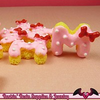 5 pcs M Mouse COOKIE with Bow Resin Kawaii Cabochons 21x18mm