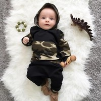 Toddler Baby Boy Girl Clothing Sets Hoodies Sweatshirt Camouflage Tops + Pants Kids 2pcs Outfits Set Baby Boys Clothes