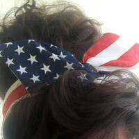 Dolly Bow, American Flag Fourth of July Rockabilly Wire Headband Pin Up 50s Hair Teen Woman