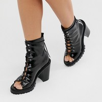 ASOS DESIGN Emma peep toe chunky lace up boots in black   ASOS