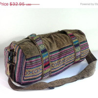 Hippie duffle bag cross-body, Aztec weekender bag, Hipster travel bag, Mens Women overnight bag, cotton sports bag, Fitness gymbag, Brown