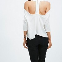Light Before Dark Cut-Out Top in Cream - Urban Outfitters