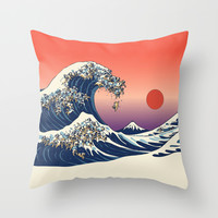 The Great Wave of Pug Throw Pillow by Huebucket