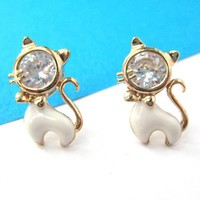 Kitty Cat Animal Small Stud Earrings in Gold with Rhinestones
