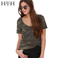 HAOYIHUI 2016 Brand New Summer Fashion Women Slim Short Sleeves Camo Printed Tee Loose Army Green V Neck Camber Bottom Vogue Tee
