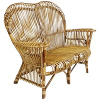 Rare Italian Rattan Sofa Attributed to Franco Albini for Vittorio Bonacina