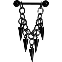 Handcrafted Black Spike Chain Dangle Nipple Ring   Body Candy Body Jewelry