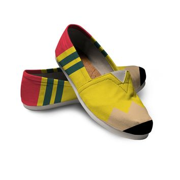 Teacher Pencil Shoes Custom Printed Toms Style Casual Shoes