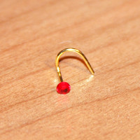 Red Crystal Nose Stud Ring, Cartilage Stud, tragus cartilage Stud, Tiny Gold Nose Ring, Tiny Nose Ring, Nose Jewelry