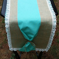"""Burlap and Lace Table Runner with Linen, Rustic Table Decor, Rustic Wedding Decor, 72"""" Runner, Burlap Runner"""
