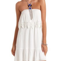 Crochet-Trimmed Flounce Strapless Dress by Charlotte Russe - Ivory