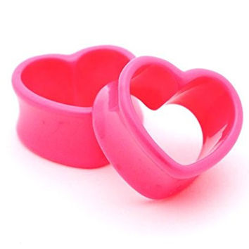 """Pink Acrylic Heart Tunnels - 5/8"""" - 16mm - Sold As a Pair"""