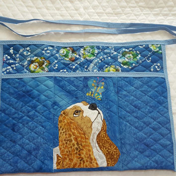 Curious Cavalier King Charles Spaniels Dog Apron for Dog Agility, Dog Obedience, Gardening Apron - Appliqued Quilted in blue with butterfly