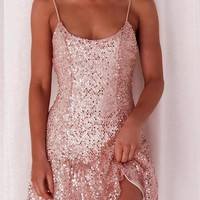 Pink Patchwork Sequin Pleated Spaghetti Strap Backless Cute Homecoming Party Mini Dress