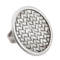 925 Sterling Silver with Weaved Design Ring Size 8