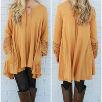 Harvest Glow Toffee Trapeze Tunic Dress With Keyhole Cutout