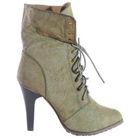 JOIE DISTRESSED UTILITY BOOTIE - OLIVE