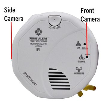 4K Dual Camera View Wifi Carbon Monoxide Smoke Detector Spy Camera & DVR - Wireless Hidden Camera - 110V Hardwired