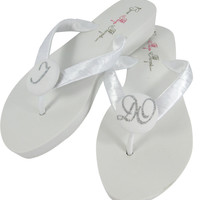 Silver Wedged I DO Wedding Flip Flops for the Bride- White- Choose heel height