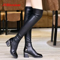 JYRhenium 2018 New Winter Fashion Leather Over Knee Boots Women Sequined Toe Elastic Stretch Thick Heel Thigh High Riding Boots
