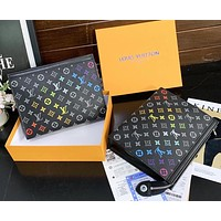 Louis Vuitton New Color Letters Zipper Envelope Bag Cosmetic Bag Fashion Business Folder Clutch