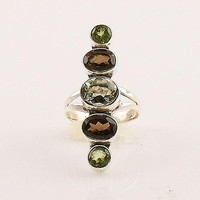 Prasiolite, Smoky Quartz  & Peridot Sterling Silver Ring