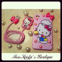 Hello kitty iPhone 4 case pink pearls with cute iphone 4 cable chord