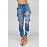 Take Flight Distressed Cropped Jeans (Medium Wash)