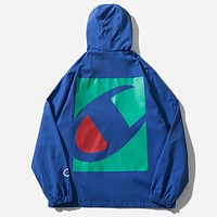 Champion New fashion letter logo print hooded long sleeve hooded trench coat windbreaker Blue