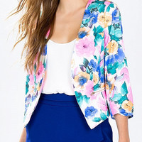 Multicolor Floral Collarless 3/4 Sleeve Zipper Pocket Blazer