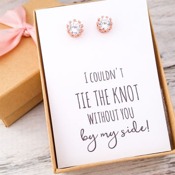Petite Rose Gold/Silver CZ Earrings
