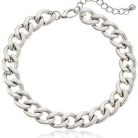"""Large Chain Link Burnished Silver-Tone Collar Necklace, 17"""" + 3"""" Extender"""
