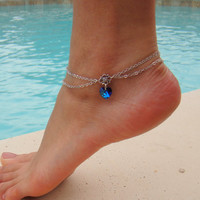 Double Chain Anklet with Swarovski Crystal Heart Pendant