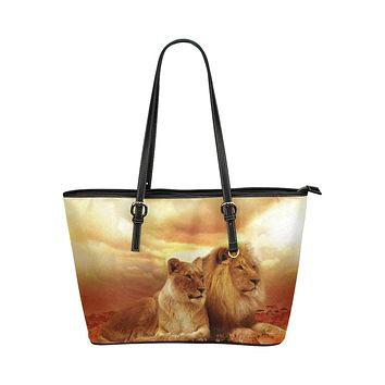 Tote Bags, Brown Autumn Lion and Lioness Style Leather Bag