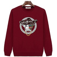 Versace men's autumn and winter models men's sweater casual relaxed loose hood jacket Red