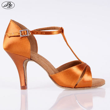 Hot Sale Women latin Dance Shoes BD 2358 Satin Sandal Ladies Latin Dancing Shoes High Heel T bar Indoor Samba Rumba