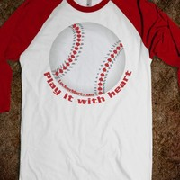 Baseball Softball Love Stitched Heart - Play it with heart!